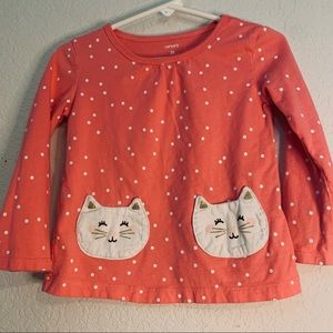 Carters Tee with kitten front pockets